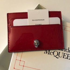 Alexander McQueen Patent Leather Skull Card Holder